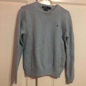 women's blue polo sweater